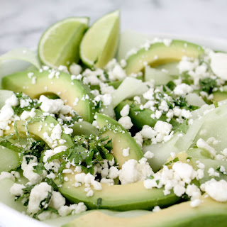 Avocado, Cucumber, & Goat Cheese Salad.