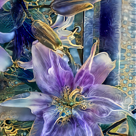 Lilies by Cassy 67 - Digital Art Things ( digital, love, harmony, flowers, abstract art, photoshop, abstract, flower, digital art, light, lily, deep dream, photography, energy )