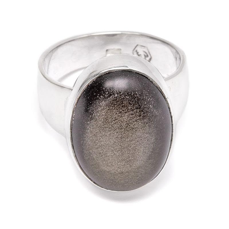 Guldobsidian, oval slät ring i silver