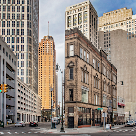 Downtown Detroit by Pat Eisenberger - Buildings & Architecture Other Exteriors ( michigan, urban, cityscape, detroit, flatiron, downtown, city street, city,  )