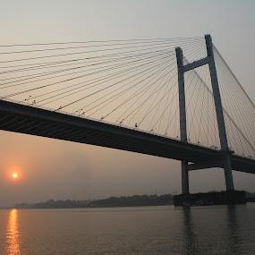 Vidyasagar Setu by Kishan Shah - Buildings & Architecture Bridges & Suspended Structures ( sunset, ganges, bridge, cruise, river )