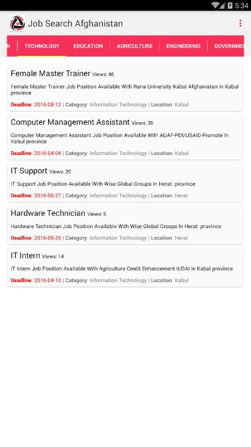 Job Search Afghanistan- screenshot