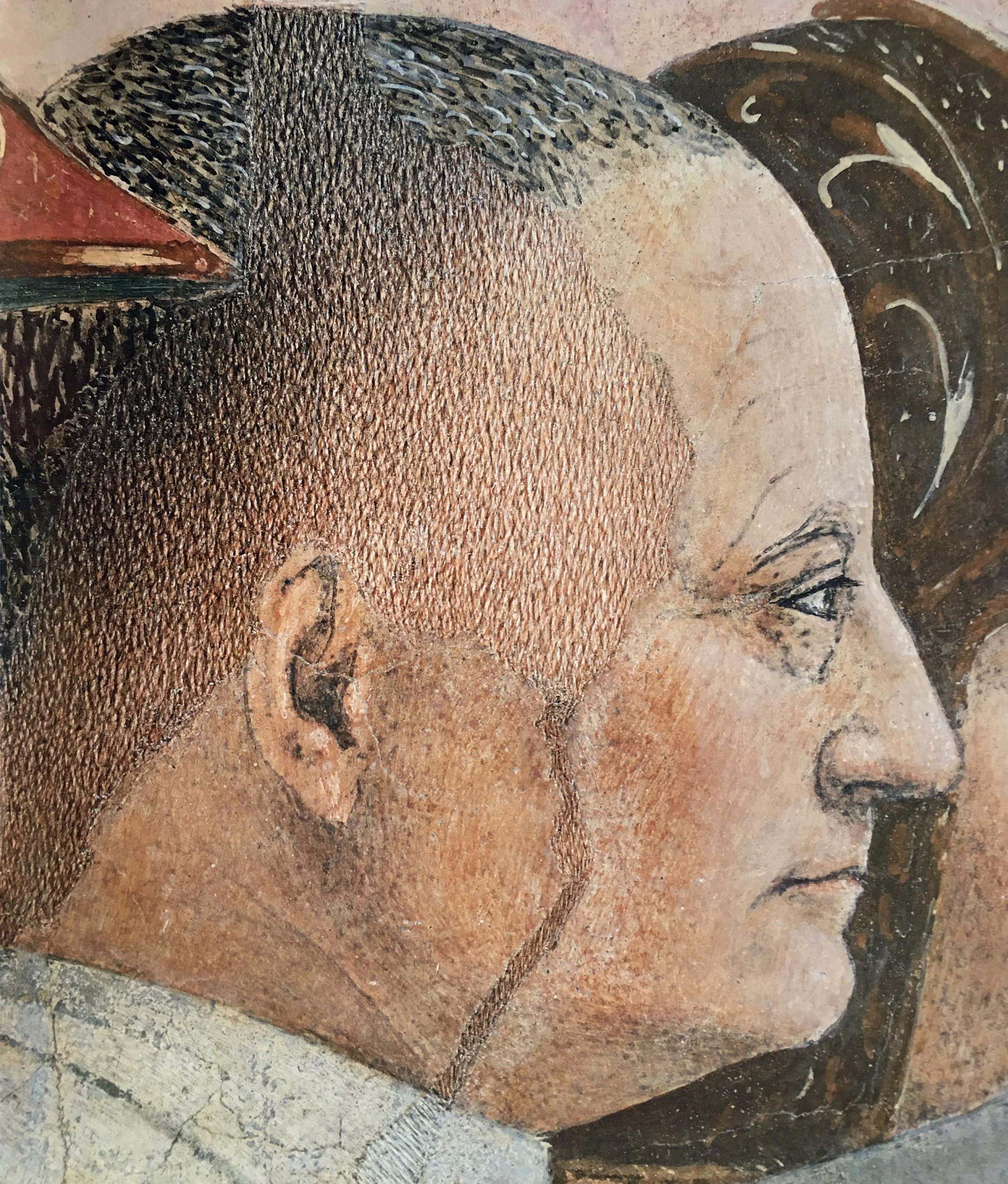 Piero della Francesca, Battaglia di Eraclio e Cosroè (particolare, ritratti di famiglia dei Bacci, forse Giovanni Bacci), le Storie della Vera Croce, Basilica di San Francesco, Arezzo