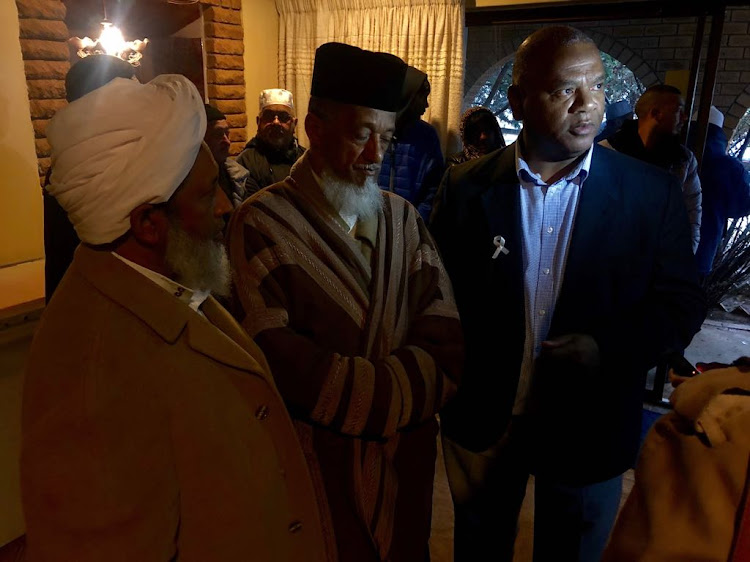 Western Cape community safety MEC Dan Plato (right) at the Malmesbury mosque on Thursday with Muslim Judicial Council (MJC) president Sheikh Irfaan Abrahams, middle, and MJC first deputy president Moulana Abdul Khalid Allie.