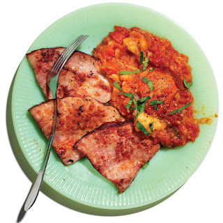 Stewed Tomatoes with Ham Steaks