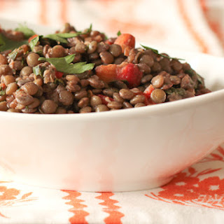 Lentil Salad with Roasted Red Peppers, Olives and Almonds.