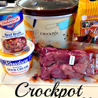 Crockpot beef Stroganoff.