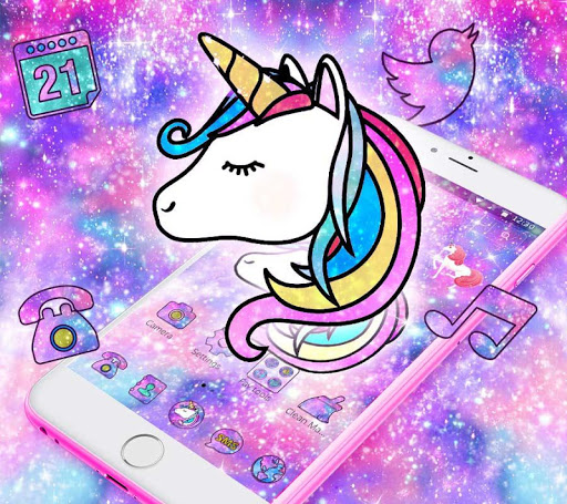 Galaxy Unicorn Shiny Glitter Theme for PC