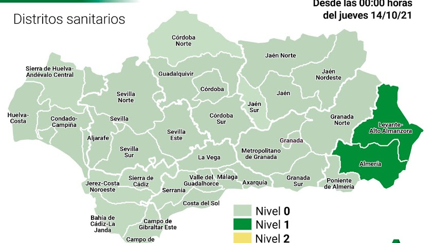 Mapa actual de Andalucía.
