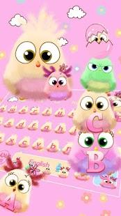 Růžový ptactvo klávesnice téma - náhled