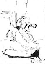 Photo: 茫然2011.04.19鋼筆 第三位收容人躺在洗腎病床上,兩眼發直的他茫然地望著天花板…