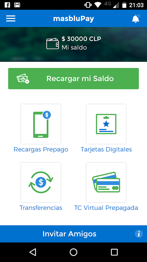 masbluPay Beta: captura de pantalla