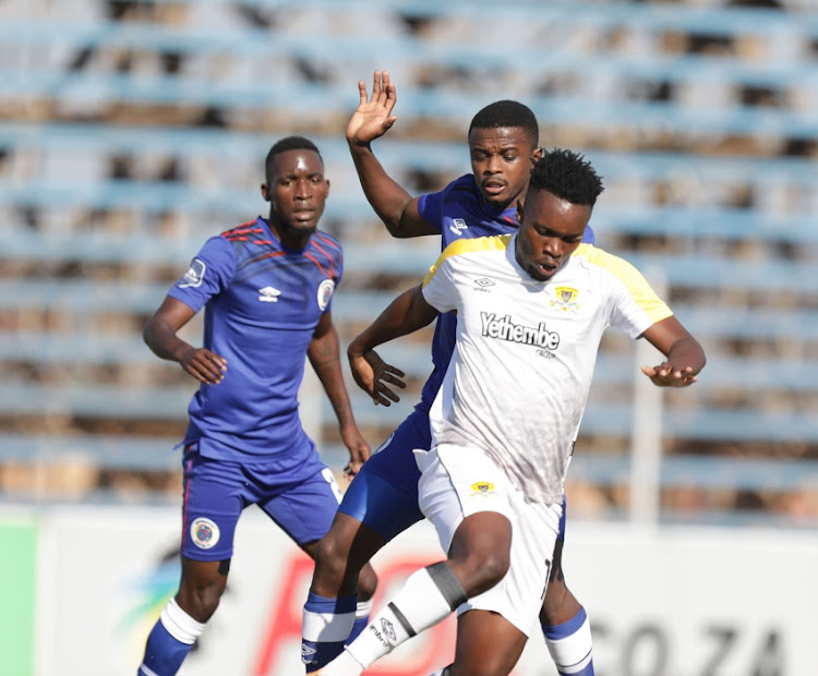 Wiseman Maluleke of Black Leopards challenged by Teboho Mokoena of Supersport United during the DStv Premiership match between Black Leopards v SuperSport United at Thohoyandou Stadium on April 24, 2021 in Thohoyandou, South Africa.