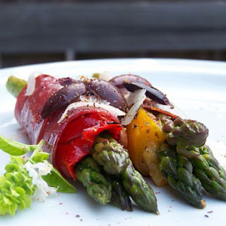 Roasted Asparagus w/ Capicola and Grilled Peppers