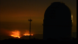 Imágenes del incendio de Terque captadas desde el observatorio de Calar Alto, del astrónomo Israel Hermelo.