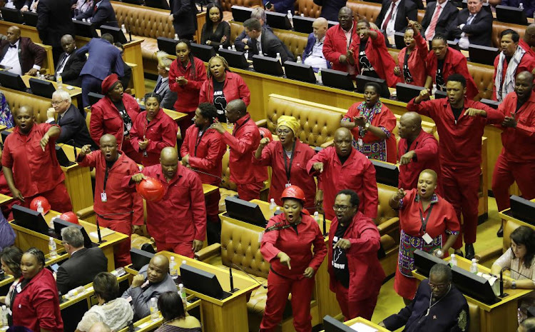 EFF MPs who tried to stop public enterprises minister Pravin Gordhan from delivering a speech in parliament last year are guilty of contempt of parliament, according to advocate Ncumisa Mayosi.