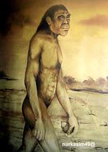 Photo: Manusia purba (Zaman Mezolitik). Lukisan dinding Museum La Galigo, Makassar. http://nurkasim49.blogspot.com