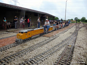 Photo: Mike Alexander with Trainmaster Bob Barnett standing to the left of the train.    HALS Public Run Day 2015-0418 RPW