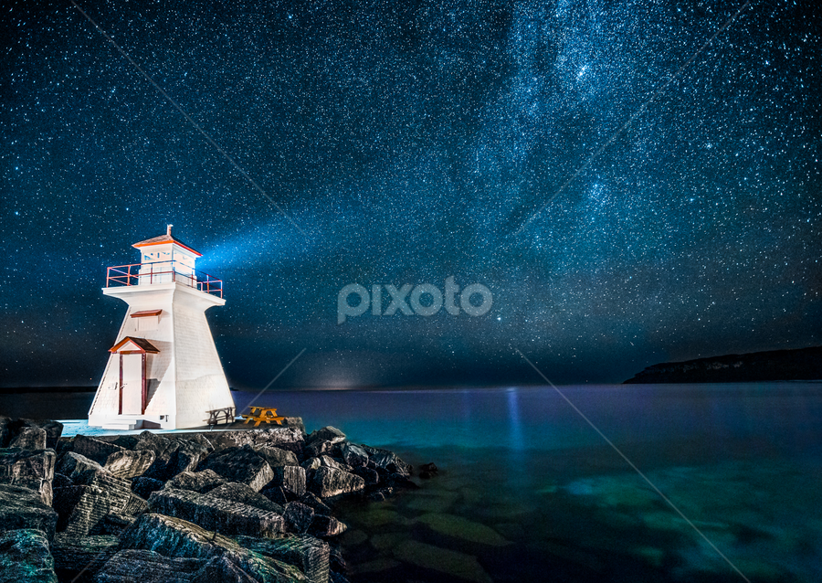 Beacon to the Heavens by Trevor Pottelberg - Landscapes Starscapes ( autumn, stars, fall, dark skies, night, north, astronomy, starscape, bruce peninsula,  )