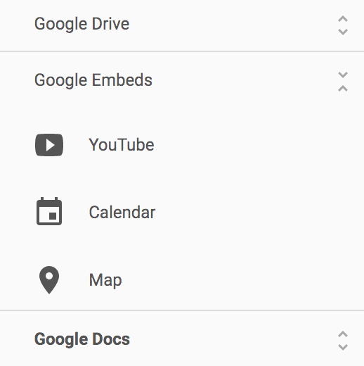 Embed GDrive elements.
