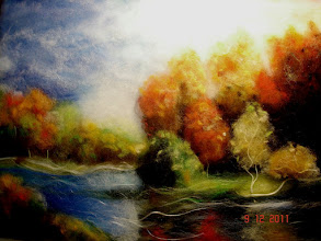 Photo: 124, Нетронина Наталья, Осенняя мелодия, шерсть, акрил, вискоза(шерстяная акварель), 40х30см,