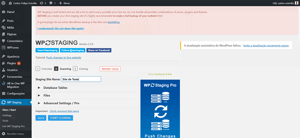 página de clonagem do site wordpress no wp staging