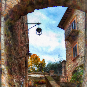 Light at the Top of the Tunnel by Darin Williams - City,  Street & Park  Neighborhoods ( masonry, clouds, umbria, leaves, lantern, stairs, sky, window, tree, autumn, shutter, lamp, stones, italy, assisi, balcony )