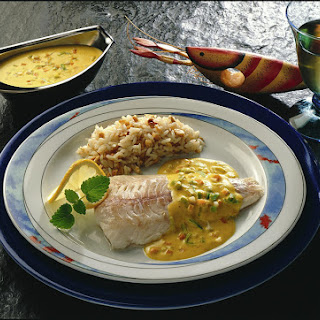 Poached Haddock with Peanut Rice.