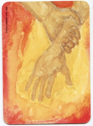 Карта из колоды метафорических карт Ох: одна рука хватает другую