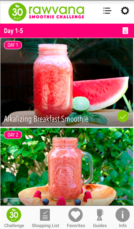 Rawvana Smoothie Challenge- screenshot