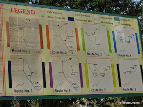 Photo: Route map to Gir National Park, many routes are opposite entry to each other like 4-7, 2-6 , 1-3 you can see the GPS track of the route on http://www.wikiloc.com/wikiloc/user.do?name=Vandan+Jhaveri