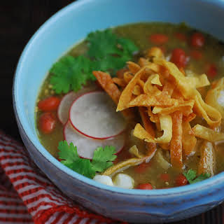 Pork-Free Pozole with Red Beans for No Croutons Required.