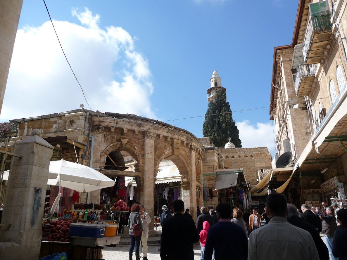 Here we are still in the very large Muslim Quarter of the Old City, hanging out with some Roman architecture evidenced by those columns and arches