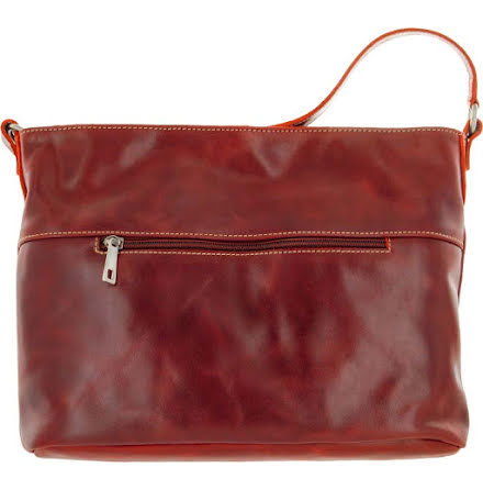 Skinnväska A4 röd med blommigt textilfoder