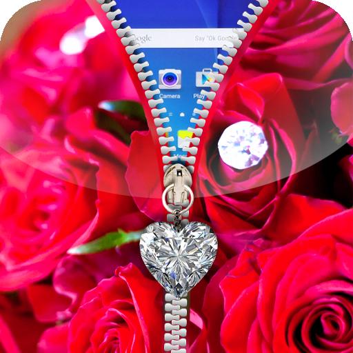 ピンクの愛のジッパーロック画面 工具 App LOGO-APP試玩