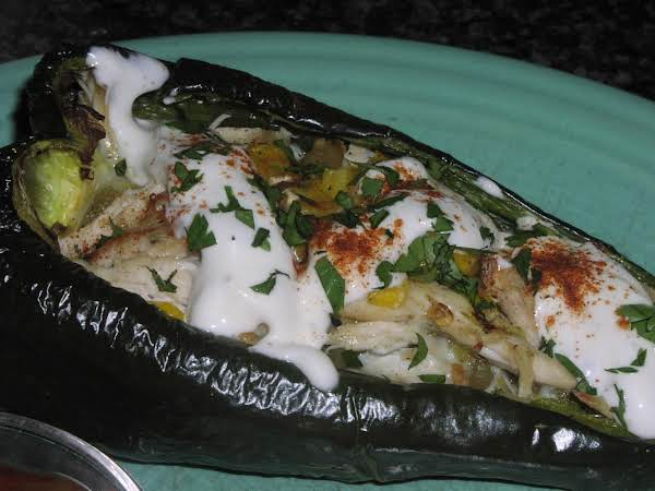 Cheesy Chicken And Corn Stuffed Chiles