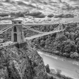 Clifton Suspension Bridge, UK by Sabine Schnell - Buildings & Architecture Bridges & Suspended Structures ( uk, suspension bridge, black and white photography, lightroom classic cc, bridge, clouds, bristol, nik filters )