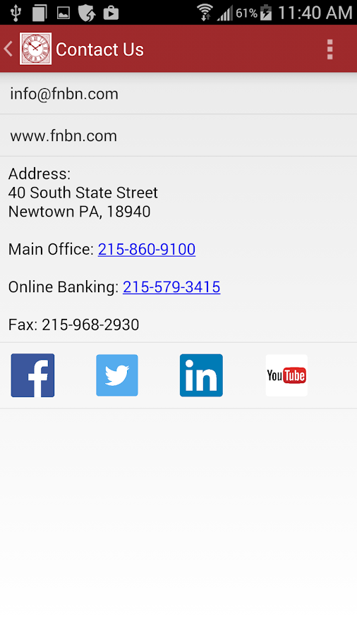 First National Bank of Newtown- screenshot
