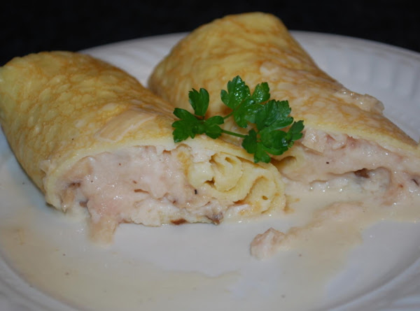 Chicken Marsala Mousse Crepes With Cream Sauce Recipe
