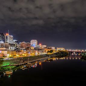 Nashville by Darrin Ralph - City,  Street & Park  Skylines ( skyline, long exposure, night, cityscape, nightscapes, river )