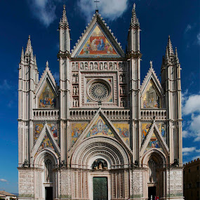 Cathedral at Orvietto  by Gerard Pascazio - Buildings & Architecture Places of Worship ( blue ski, orvietto italy, facade, cathedral,  )