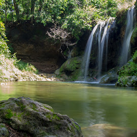Waterfall in the Forest by Shariq Khan - Landscapes Waterscapes ( forest, monsoon, green, nature, seasonal, waterfall, madhya pradesh, indore, river, india, landscape )