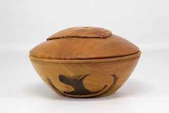 "Photo: Ed Karch 6"" x 3.25"" Beads of Courage ""cat"" box [cherry] - turned, carved, and decorated"