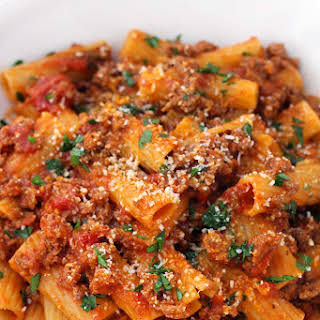 Five-Ingredient Pasta with Bolognese Sauce.