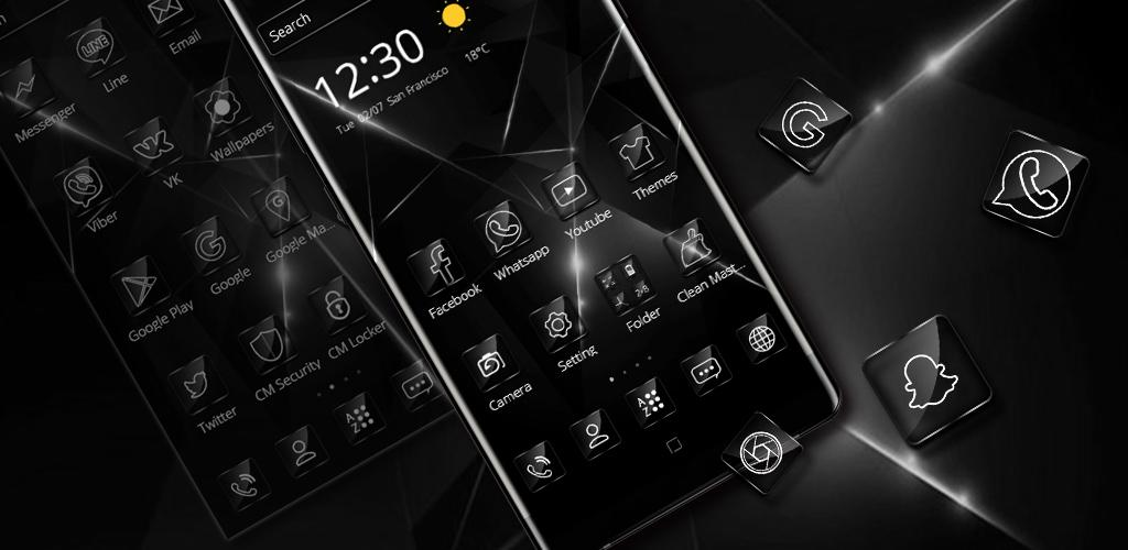 Cool Glossy Black Theme - App by Theme Summer Palace