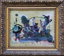 """Photo: """"Pacha"""". Encre sur papier, couche supplémetaire faite d'un rhodoïde recouvert de peinture émail.24x19cm, format horizontal."""