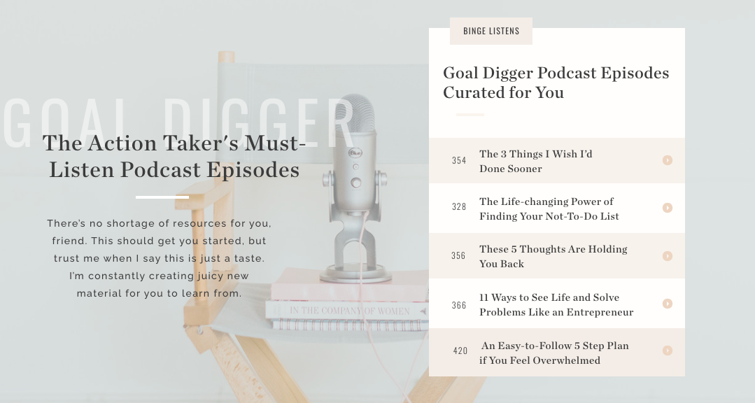 podcast episode recommendations from quiz results