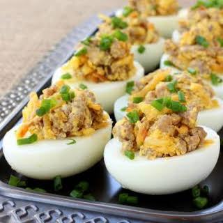 Sausage and Hash Brown Deviled Eggs.