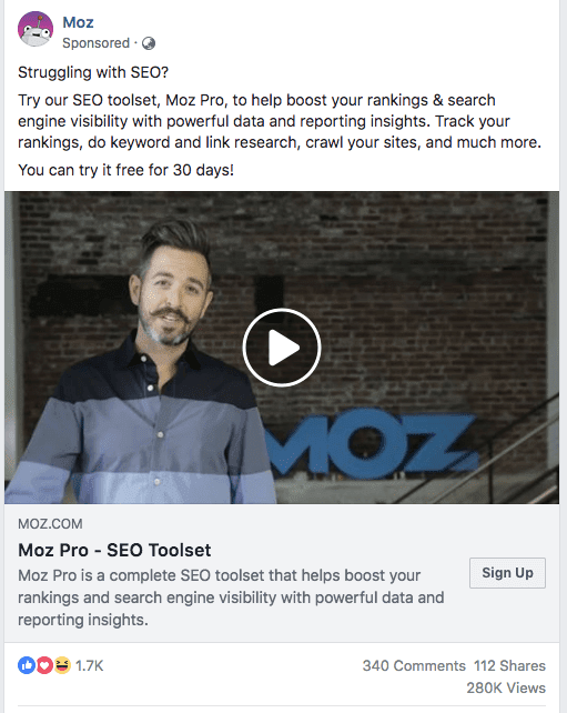 Moz Ad shows power of social proof