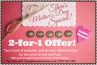Photo: Anyone buying their wife, mum or gran a new Phone or Tablet for Mother's Day this weekend? I'm doing a special training offer - good this week only! Get 2 hours, bespoke training for the price of one! Offer good for iPads, Android and Kindles too. Must be near Glasgow (will possibly go further afield upon request). Message me for info! Or call 0141 416 1492. Thanks
